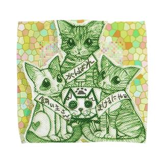 応援猫3にゃんこ Towel handkerchiefs