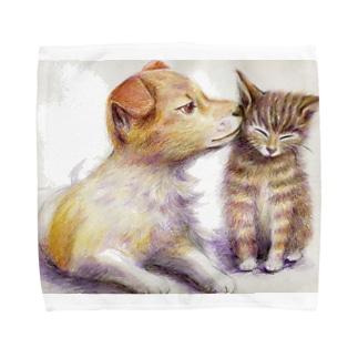 子犬と子猫 タオルハンカチ