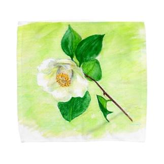 白い椿 タオルハンカチ