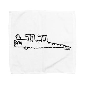 らくがきシリーズ『じたばたワニさん』モノクロ Towel handkerchiefs