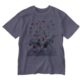 にじみ_お花 Washed T-shirts
