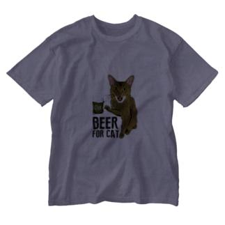 Nobigao ビール猫 Washed T-shirts