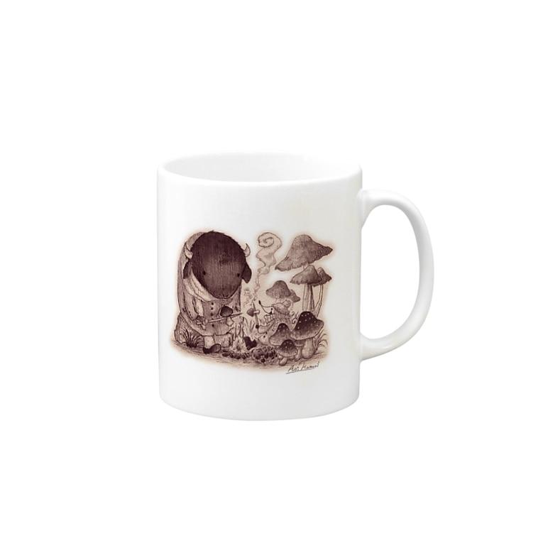 ハモリ アオイのきのこの森の出会い Mugs