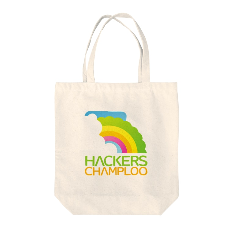 ハッカーズチャンプルーのハッカーズチャンプルーロゴ(正方形) Tote bags