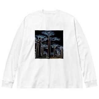 Night Baobab  Big silhouette long sleeve T-shirts