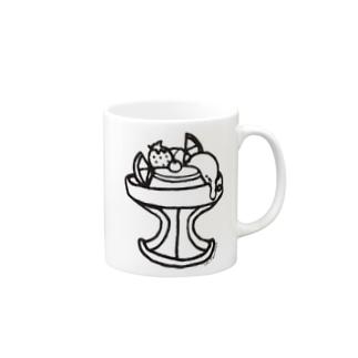 Cɐkeccooのらくがきシリーズ『ぷりんアラモード』モノクロ Mugs
