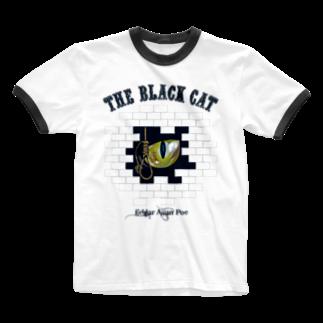 GubbishのThe Black Cat(淡色ボディ用) Ringer T-shirts