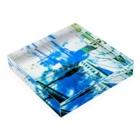 motchamのLAYER-GREEN (daylight dream) Acrylic Blockの平置き