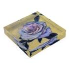 kano-natural-art-galleryのブルーローズ Acrylic Blockの平置き