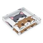スナネコシンドバッド SUZURIキャラバンのしばねこ(胡麻柴) Acrylic Blockの平置き