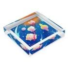たんぽぽ帝国(おみやげ屋さん)の宇宙遊泳ぷにぷに Acrylic Blockの平置き