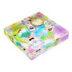 どるちぇ*うさぎの《ハロウィン》02*アリスうさぎ*虹色背景ver. Acrylic Blockの平置き