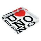うののI LOVE UNO(黒文字) Acrylic Blockの平置き