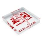 おうりょうじの玉蘭red(白木蓮/ハクモクレン/マグノリア) Acrylic Blockの平置き