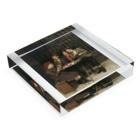世界の絵画アートグッズのジョン・ジョージ・ブラウン《タフな顧客》 Acrylic Blockの平置き