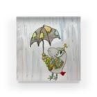ねこぜや のROBOBO ヨウムの福ちゃんロボ  雨降り Acrylic Block