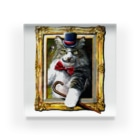 ボールペン画と可愛い動物の吾輩は猫でR アクリルブロック