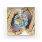 ボールペン画のイラストレーター・白石拓也の小さい地球 Acrylic Block