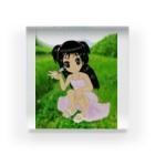 げーむやかんの少女と赤とんぼと山 Acrylic Block
