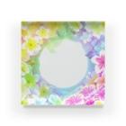 福猫の花壇の天国フラワープルメリア Acrylic Block