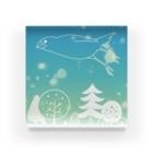 ・buncho days・ 文鳥デイズの北欧の空を飛ぶ文鳥 Acrylic Block