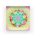 福猫の花壇の花曼荼羅 Acrylic Block