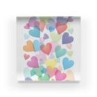 まゆぽんのアトリエのColorful Happy Heart Acrylic Block