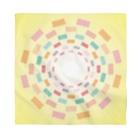 まるちの四角円模様黄色バンダナ Bandana