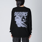ねこぜもんのScissors (背面)  Big silhouette long sleeve T-shirts