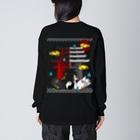 にゃーにゃー組@LINEスタンプ*絵文字販売中!の四尾*妖の夜 Big Silhouette Long Sleeve T-Shirt