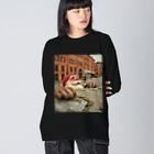 多肉damono🇯🇵のサンタクロース Big silhouette long sleeve T-shirts