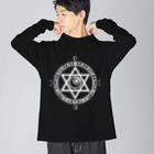 KIKITEKI_LABORATORYの魔法陣×六芒星×目玉 white Big silhouette long sleeve T-shirts