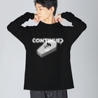 ねこぜもんのCONTINUE?(Type B) Big silhouette long sleeve T-shirts