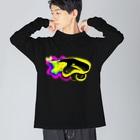 saoliicaの黒いハナヒゲウツボ Big silhouette long sleeve T-shirts