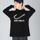 gemgemshopのJUST FISH IT (白) Big silhouette long sleeve T-shirts