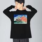 渡画楽吹 〜watarigarasu〜のアマビエ✖️北斎パロ [凱風快晴] Big silhouette long sleeve T-shirts