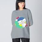 mya-mya=MIYA JUNKO's shop 02のクマとクマでぐるぐる Big silhouette long sleeve T-shirts