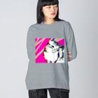 あふぐろ屋の色収差猫 Big silhouette long sleeve T-shirts