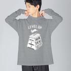ねこぜもんのLEVEL UP FTS しろいロゴ Big silhouette long sleeve T-shirts