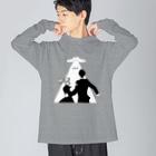 ねこぜもんのU.F.O. (前面) Big silhouette long sleeve T-shirts