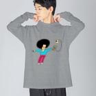 花くまゆうさくのけん玉ドリル Big silhouette long sleeve T-shirts