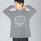 点心夫婦商店のBUTAMAN(白) Big silhouette long sleeve T-shirts