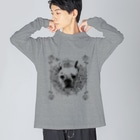 BENの【BEN】French bulldog Big silhouette long sleeve T-shirts