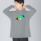 PiZakkuのステンドグラス 鳥 Big silhouette long sleeve T-shirts