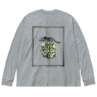 tottoのトリケラトプス骨格と紫陽花 Big silhouette long sleeve T-shirts