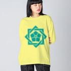 松や SUZURI店の坂本龍馬 家紋 Big silhouette long sleeve T-shirts