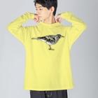 紫乃のトラツグミのトラさん(カラー) Big silhouette long sleeve T-shirts