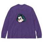 アカハナの赤鼻の女の子 Big silhouette long sleeve T-shirts