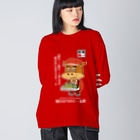 T-jet's Illustration...の[RED]駅弁売りのモー太郎【株式会社新竹商店ライセンス品】 Big silhouette long sleeve T-shirts