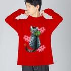 Miku Corporation  Gallery星猫のいちご大好きにゃんこ Big silhouette long sleeve T-shirts